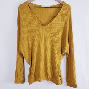 Anthropologie Pure + Good Mustard Waffle Batwing